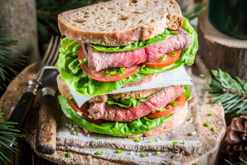 Healthy homemade sandwich with beef and vegetables