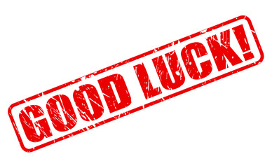 Good luck red stamp text