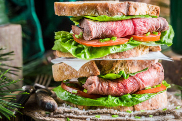 Healthy homemade sandwich with meat