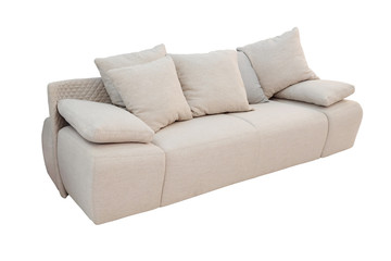 modern sofa with lots of pillows isolated