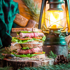 Woodcutter sandwich with beef