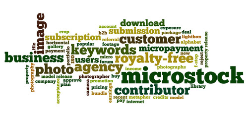 Word cloud containing words related to microstock industry