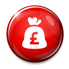 pound Money bag icon. pound currency button