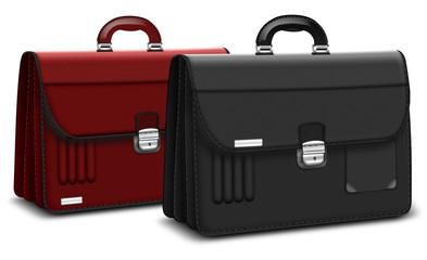 zwei Aktentaschen in Scharz und  Rot