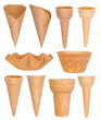 Ice cream cones collection isolated on white - 76092508