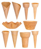 Ice cream cones collection isolated on white