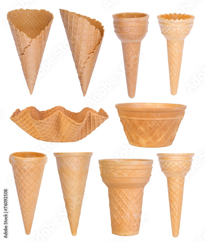 Spoed canvasdoek 2cm dik Dessert Ice cream cones collection isolated on white