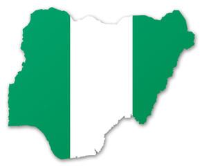Carte et drapeau du Nigeria
