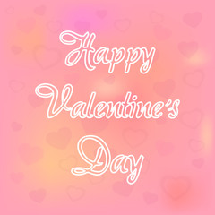 Happy Valentines Day . Love Pink with Heart Vector