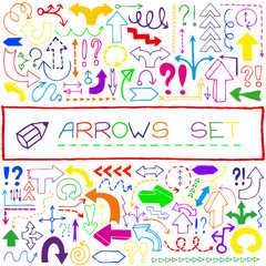 Hand drawn colorful arrow icons with question and exclamation ma