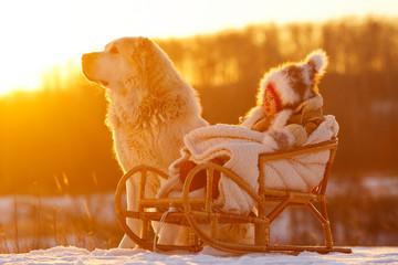 Ребенок и собака зимой