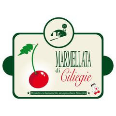 Etichetta per la marmellata di ciliegie