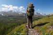 Hiker with backpack in Sweden