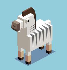 Zebra. 3D Pixelate