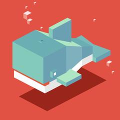Whale. 3D Pixelate