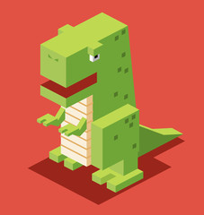 Green T-Rex. 3D Pixelate