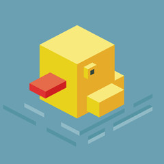 Swimming Duck. 3D Pixelate