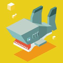 Shark. 3D Pixelate