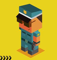 Police with Gun. 3D Pixelate