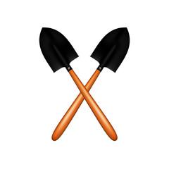 Two crossed garden shovels
