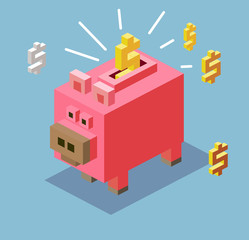 Piggy bank in 3D Pixelate
