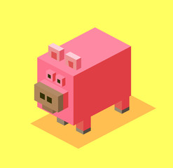Pink Pig in 3D Pixelate