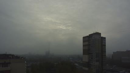 The foggy morning: industrial urban landscape