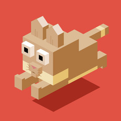 Jumping Cat in 3D Pixelate
