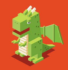 Dragon in 3D Pixelate