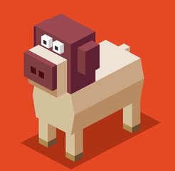 Dog 3D Pixelate