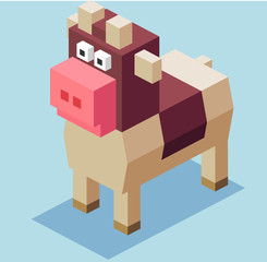 3D Pixelate Cow