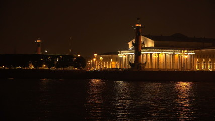 Stock exchange building in St. Petersburg. Rostral columns. Whit