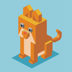 3D Pixelate Yellow Cat