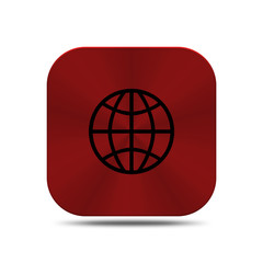 Red metal button with world icon isolated