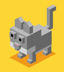 3D Pixelate Cat