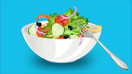 Vegetable Salad.Healthy food.Animation