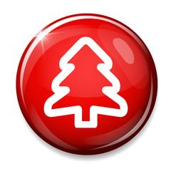 Christmas tree icon. Holidays button.