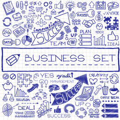 Hand drawn business set of icons.