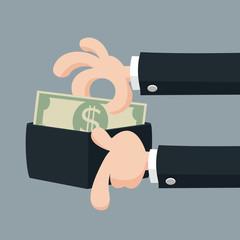 Businessman's hand offering money