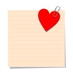 Rosa Zettel mit rotem Herz
