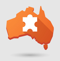 Australia map icon with a puzzle piece