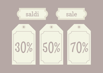 etichetta saldi 30% 50% 70%