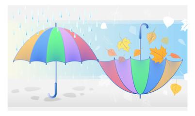 Color symbol of autumn weather: rain, falling leaves, umbrellas