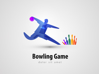 bowling vector logo design template. game or entertainment icon.