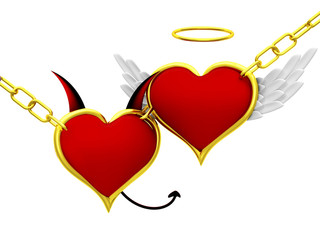 Angel and devil hearts together
