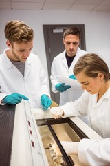 Science students using incubator in the lab