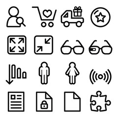 Web menu navigation line icons set - shopping, document