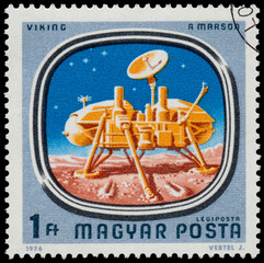 Stamp shows Space Probes to Mars and Venus