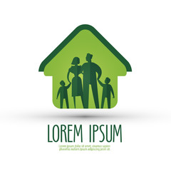 family vector logo design template. house or happiness icon.