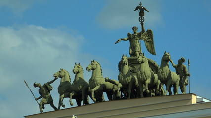 The chariot over the arch of the General staff. The Palace Squar